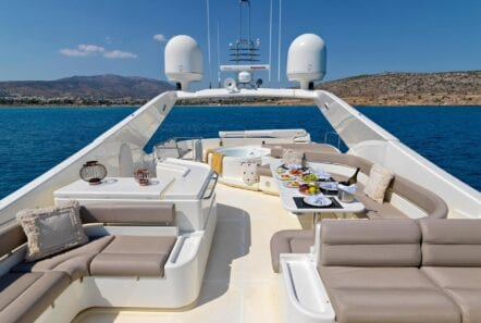 Sundeck of luxury yacht