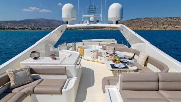 Sundeck of luxury yacht