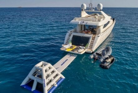 Elite yacht with sea toys