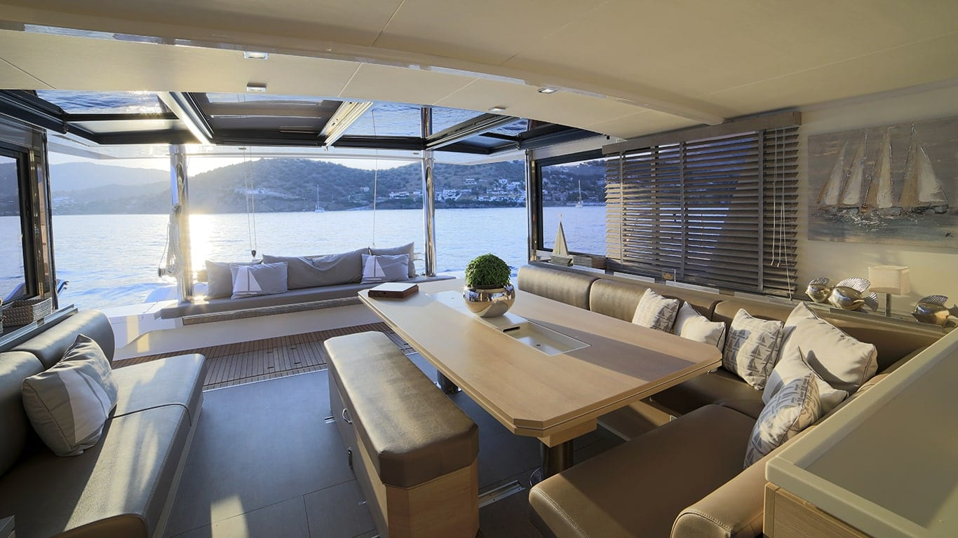 beautiful salon of catamaran in greece