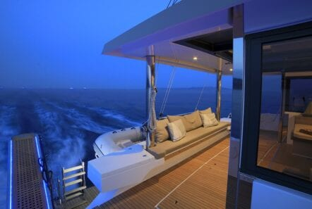 deck at sunset catamaran