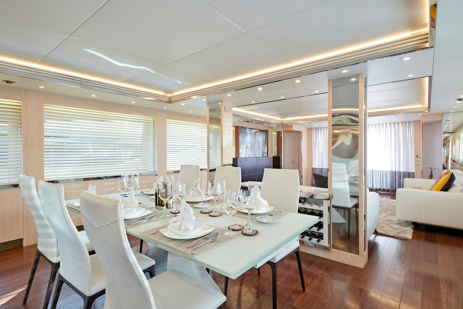 white knight yacht dining