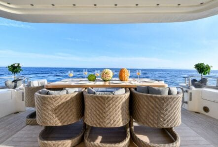 Aft deck of America yacht