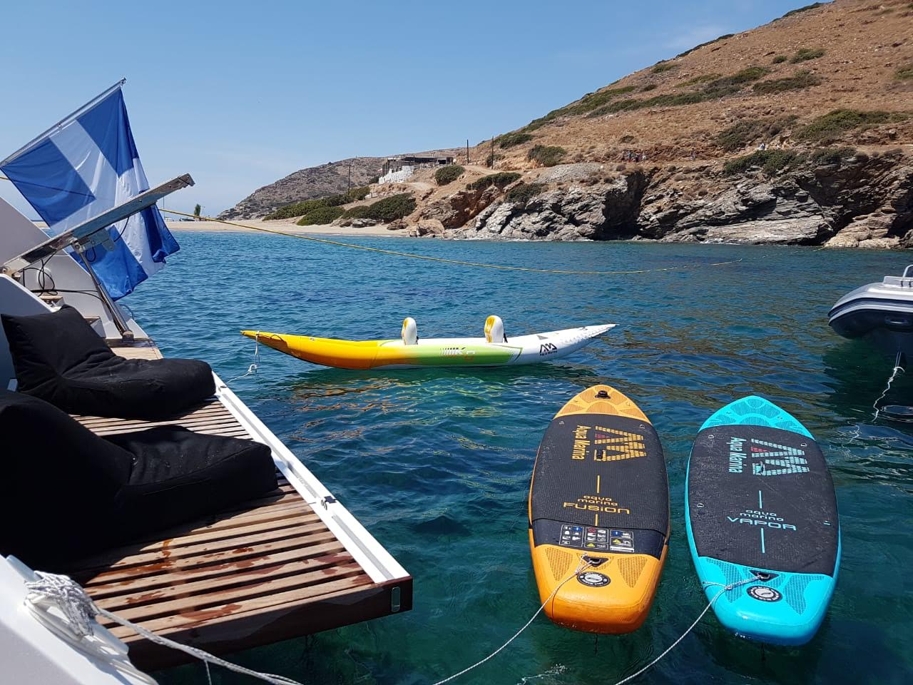 boom lagoon catamaran aft swim - Valef Yachts Chartering