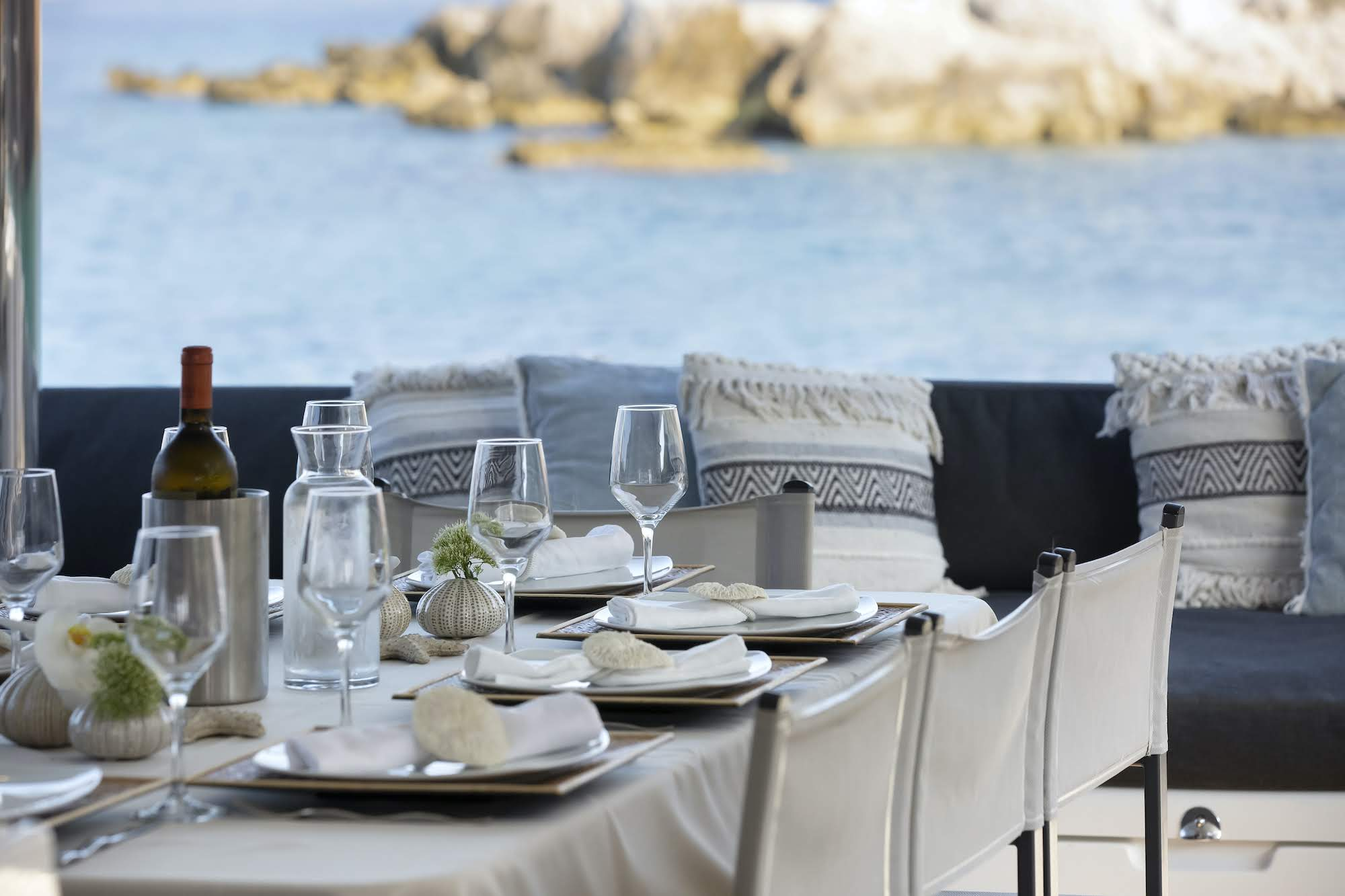 boom lagoon catamaran dining (5) min - Valef Yachts Chartering