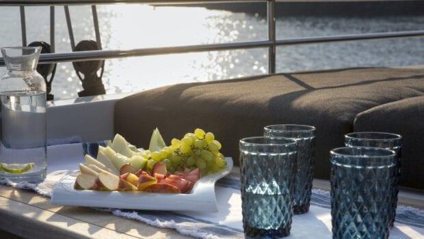 boom lagoon catamaran dining (7) min - Valef Yachts Chartering