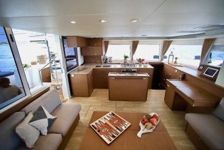 boom lagoon catamaran salon1 - Valef Yachts Chartering