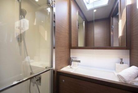 boom lagoon catamaran stairs bath (1) min - Valef Yachts Chartering