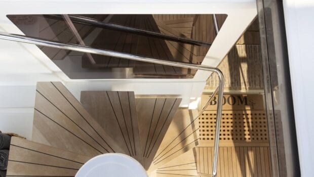 boom lagoon catamaran stairs bath (2) min - Valef Yachts Chartering