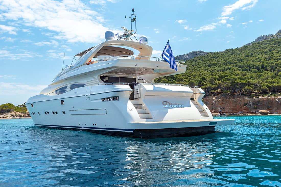 divine motor yacht aft view - Valef Yachts Chartering