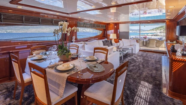 divine motor yacht dining2 - Valef Yachts Chartering