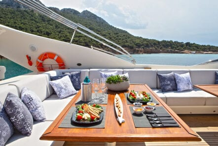 divine motor yacht exterior dining - Valef Yachts Chartering