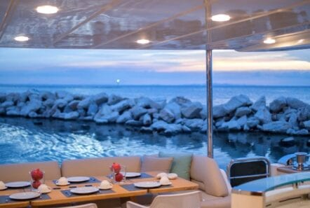 gia sena motor yacht aft details (1) - Valef Yachts Chartering