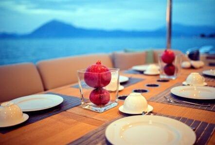 gia sena motor yacht aft details (2) - Valef Yachts Chartering