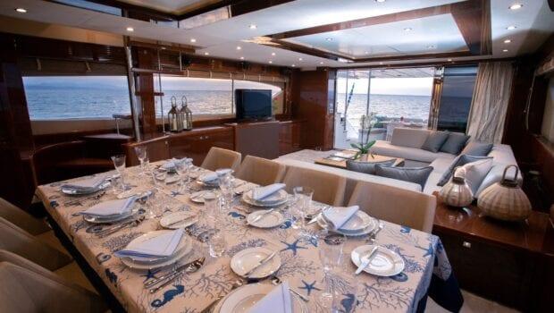 gia sena motor yacht dining (1) - Valef Yachts Chartering