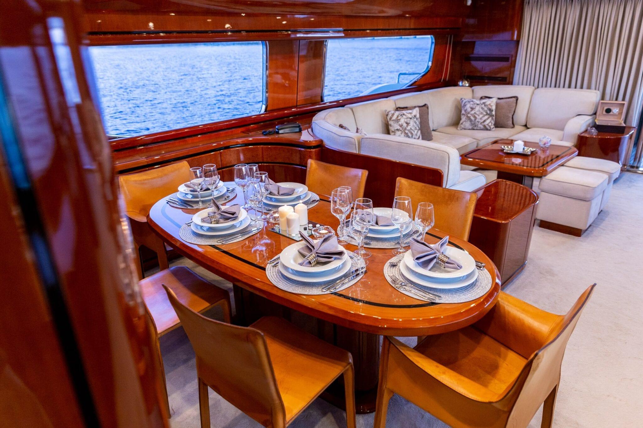 pareaki motor yacht dining (1) min - Valef Yachts Chartering