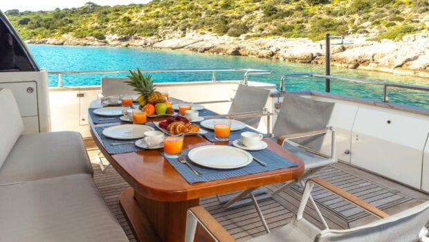 the bird motor yacht aft table (1) min - Valef Yachts Chartering