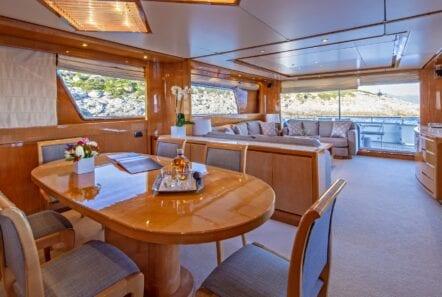 the bird motor yacht salon and dining (1) min - Valef Yachts Chartering