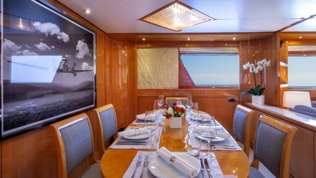 the bird motor yacht salon and dining (3) min - Valef Yachts Chartering