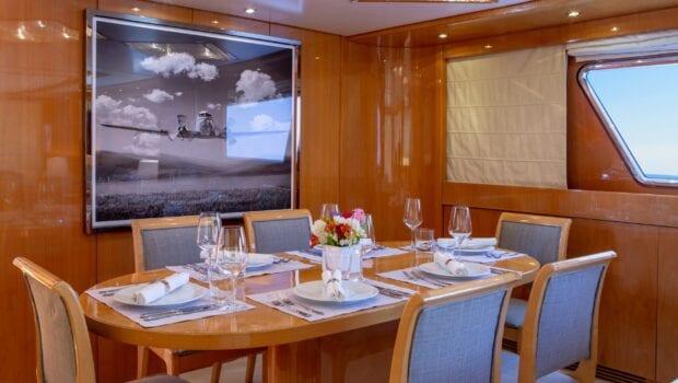 the bird motor yacht salon and dining (4) min - Valef Yachts Chartering