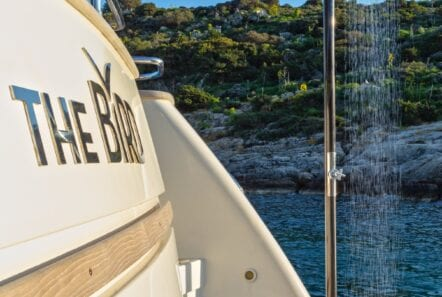 the bird motor yacht shower - Valef Yachts Chartering