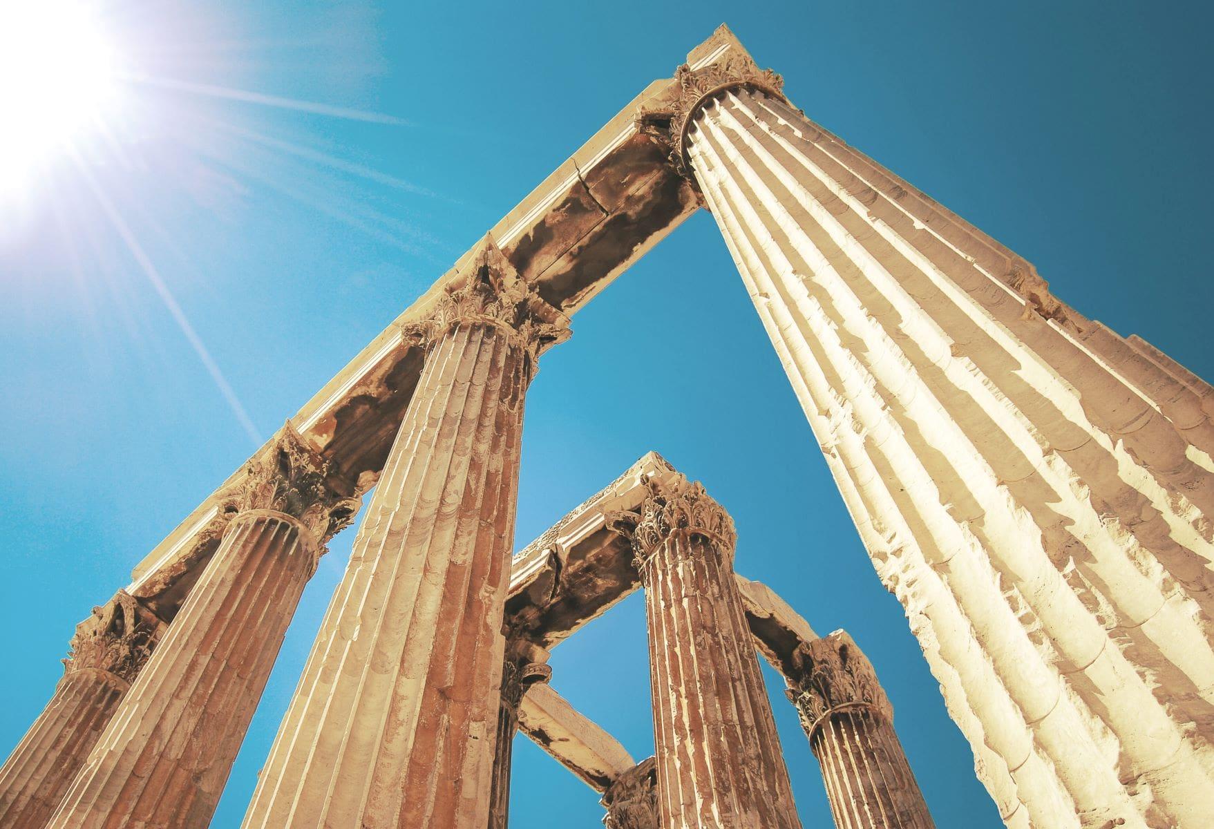corinthian columns angled up