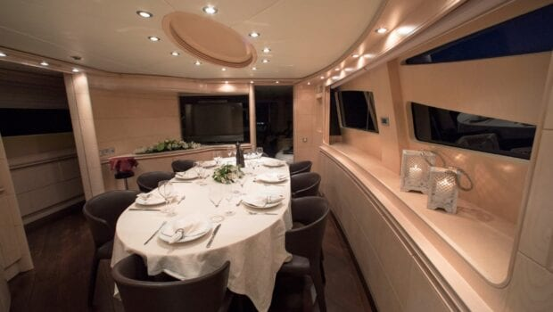 princess l motor yacht dining area min - Valef Yachts Chartering